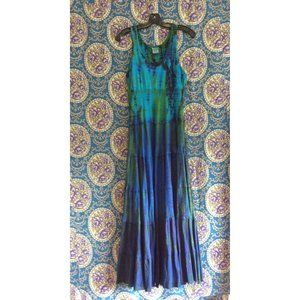 Blue & Green Boho Tie Dye Sleeveless Maxi Dress
